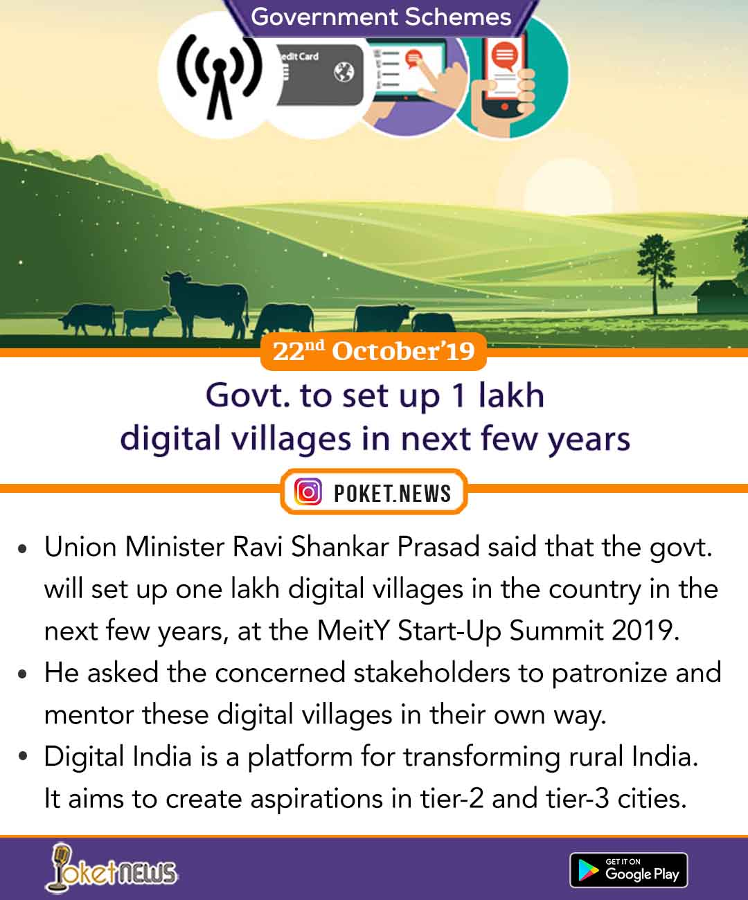 Govt. to set up 1 lakh digital villages in next few years