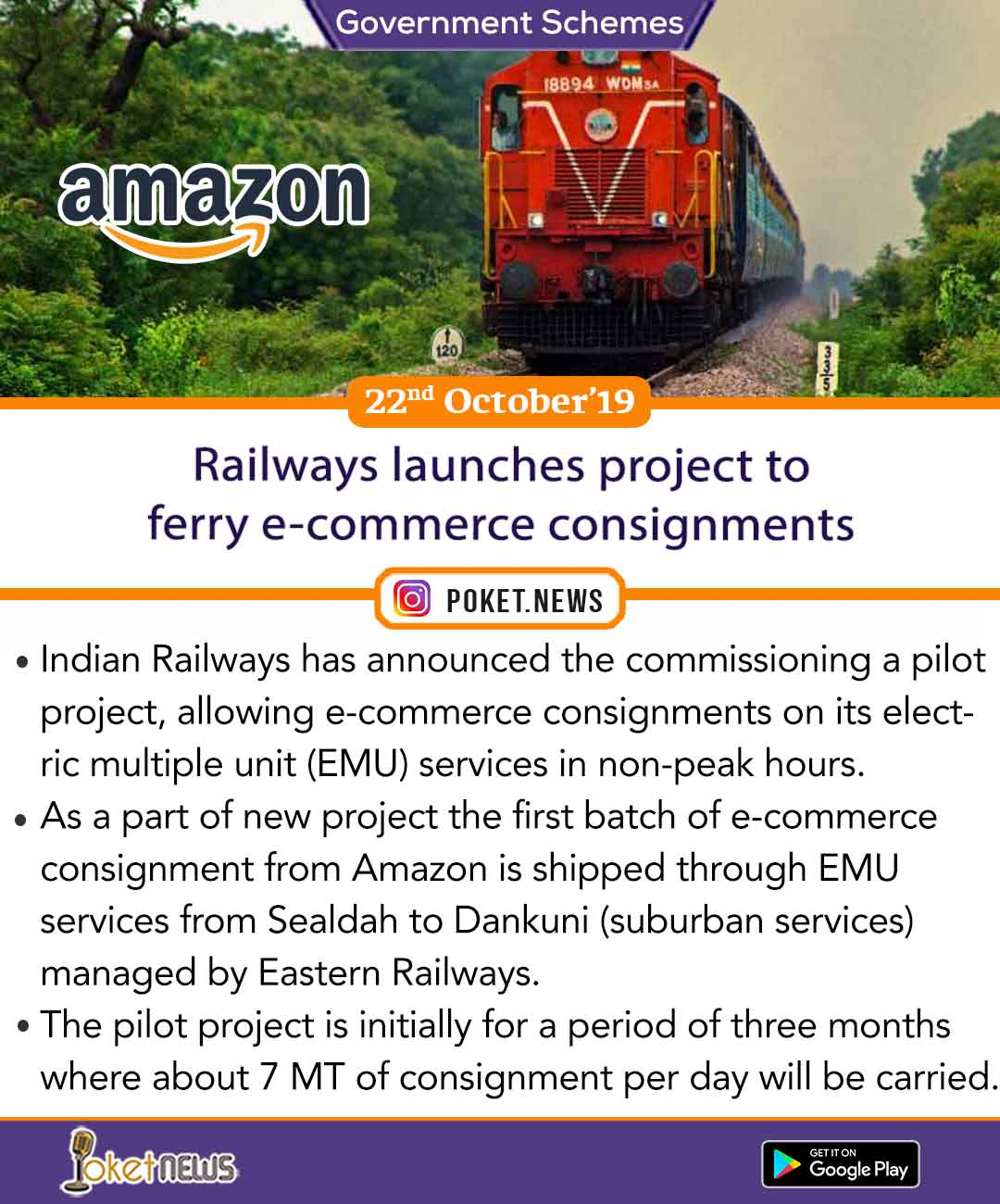 Railways launches project to ferry e-commerce consignments