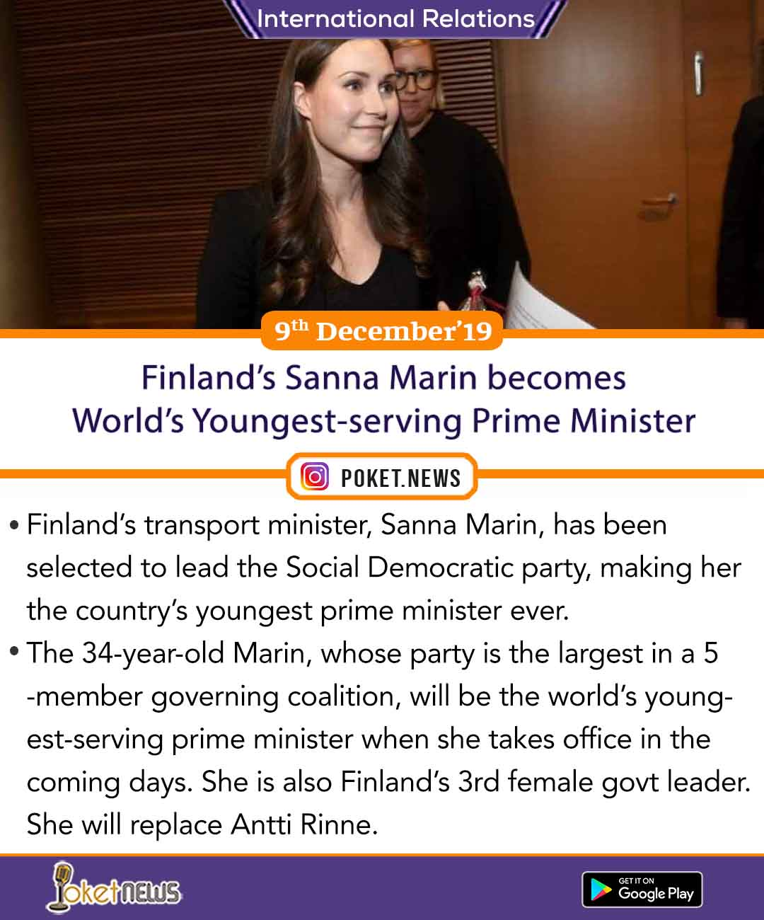 Finland's Sanna Marin becomes World's Youngest-serving Prime Minister