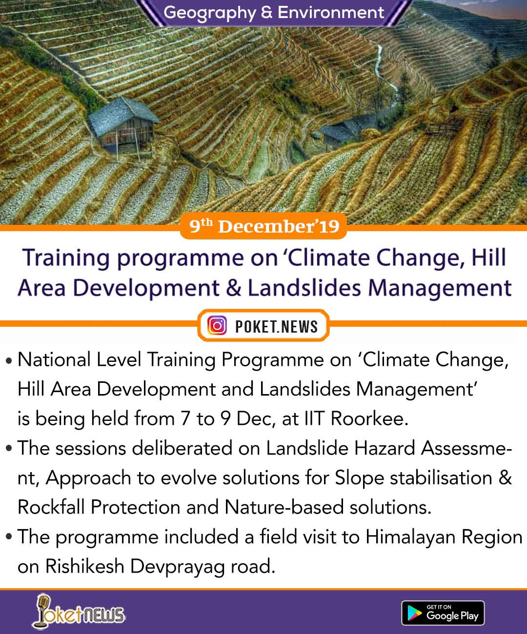 Training programme on 'Climate Change, Hill Area Development & Landslides Management