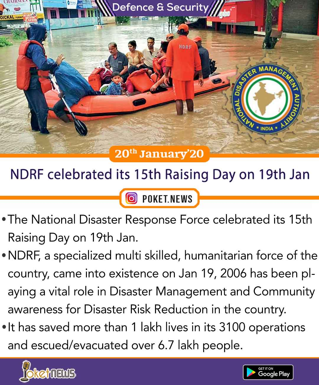 NDRF celebrated its 15th Raising Day on 19th Jan