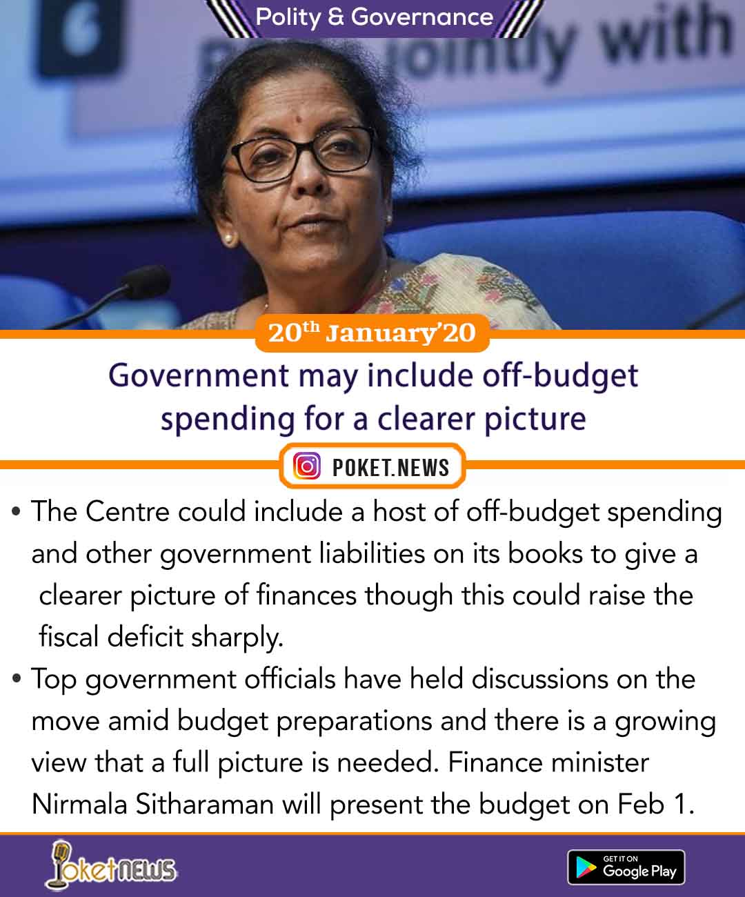 Government may include off-budget spending for a clearer picture
