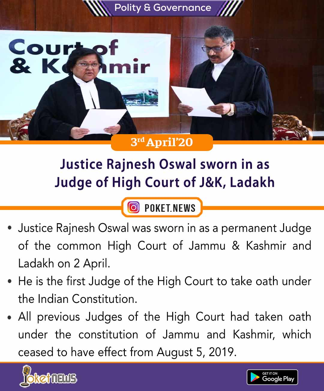 Justice Rajnesh Oswal sworn in as Judge of High Court of J&K, Ladakh