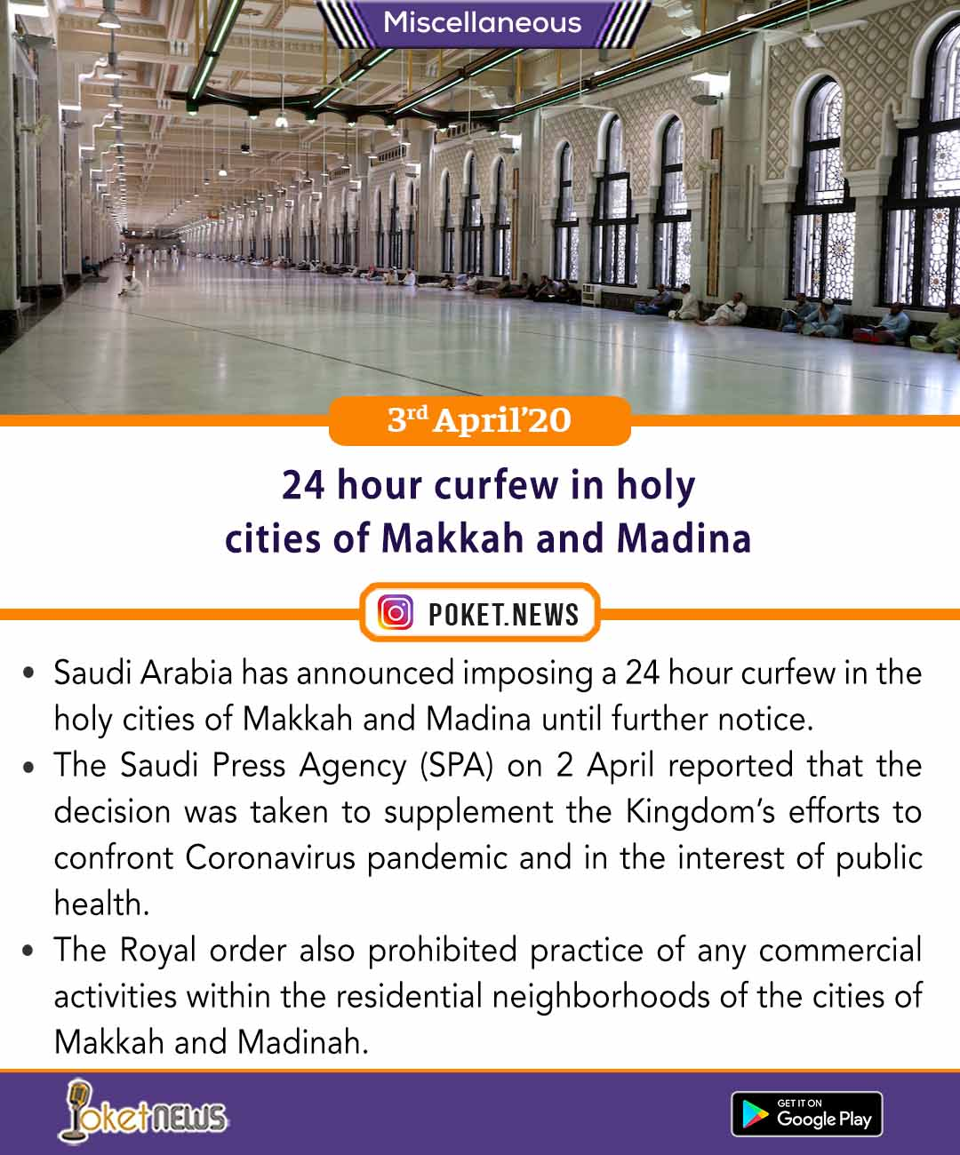 24 hour curfew in holy cities of Makkah and Madina