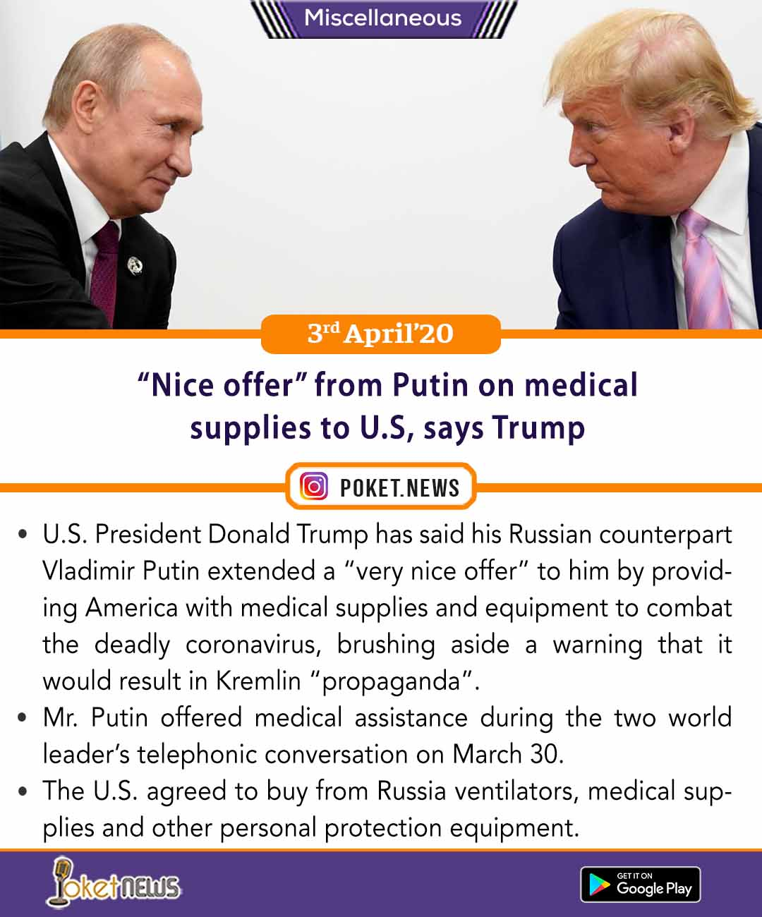 'Nice offer' from Putin on medical supplies to U.S, says Trump