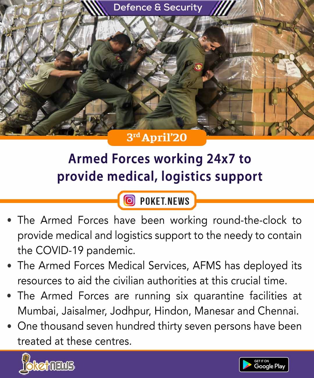 Armed Forces working 24x7 to provide medical, logistics support