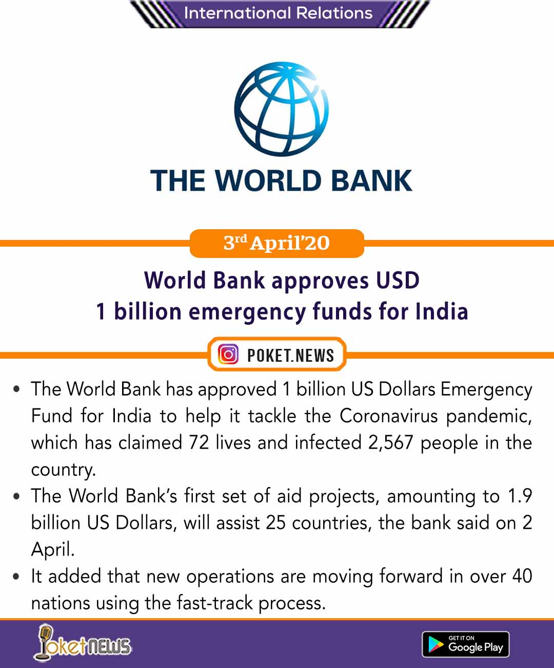 World Bank approves USD 1 billion emergency funds for India