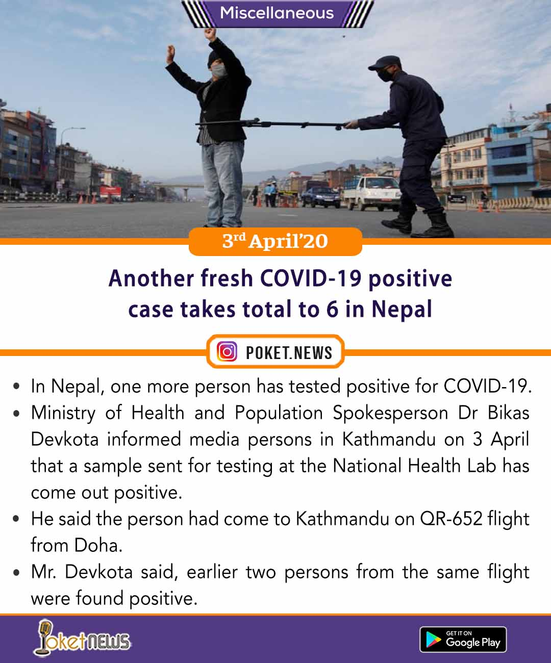 Another fresh COVID-19 positive case takes total to 6 in Nepal