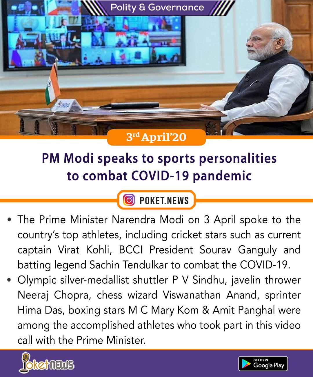 PM Modi speaks to sports personalities to combat COVID-19 pandemic