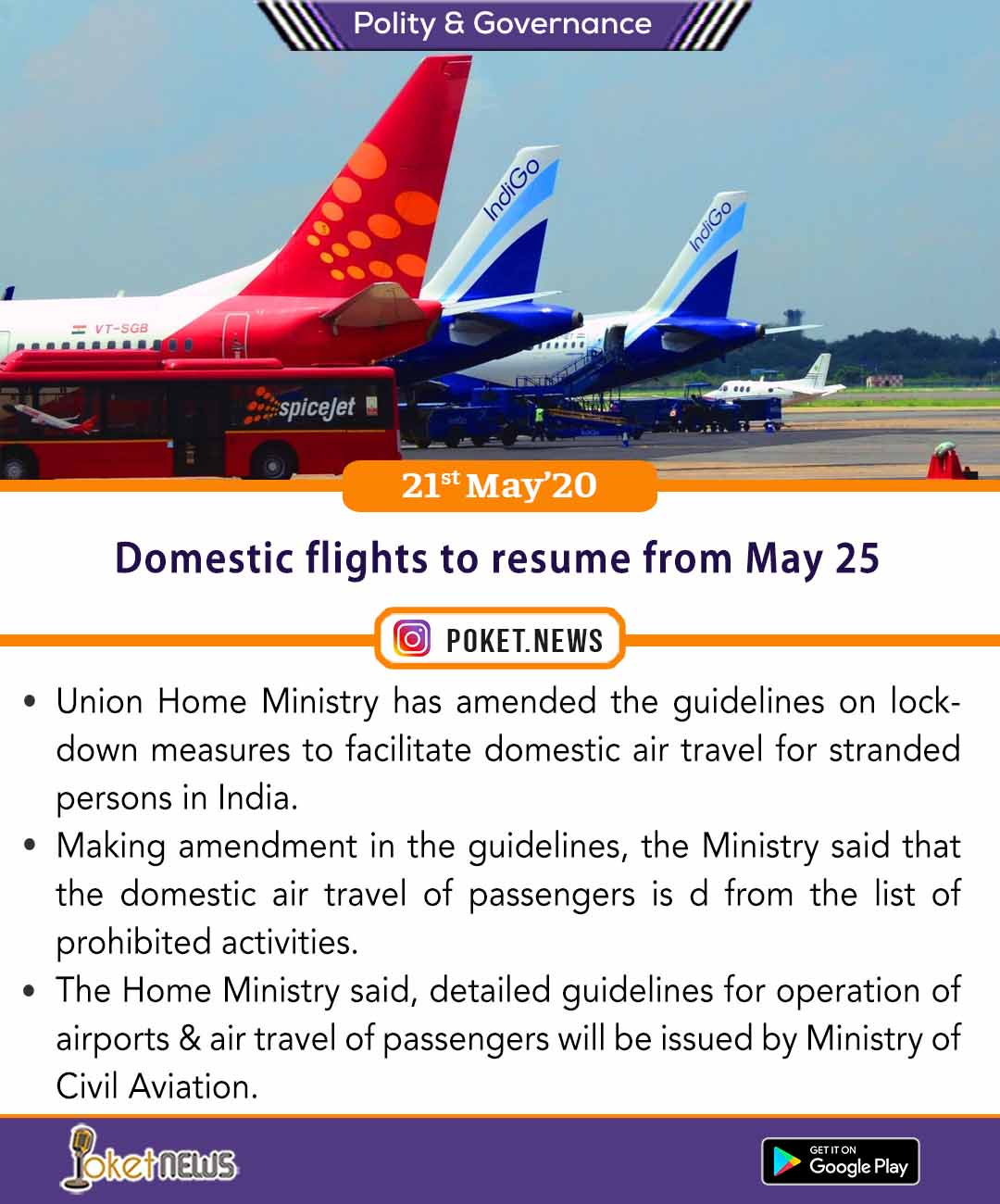 Domestic Flights To Resume From May 25