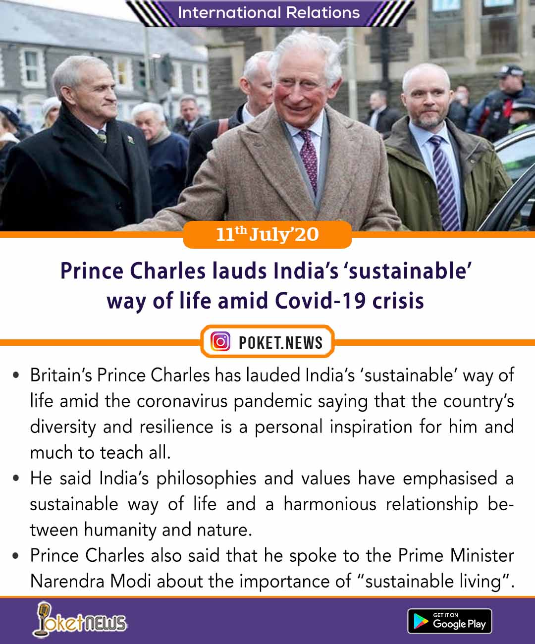 Prince Charles lauds India's 'sustainable' way of life amid Covid-19 crisis