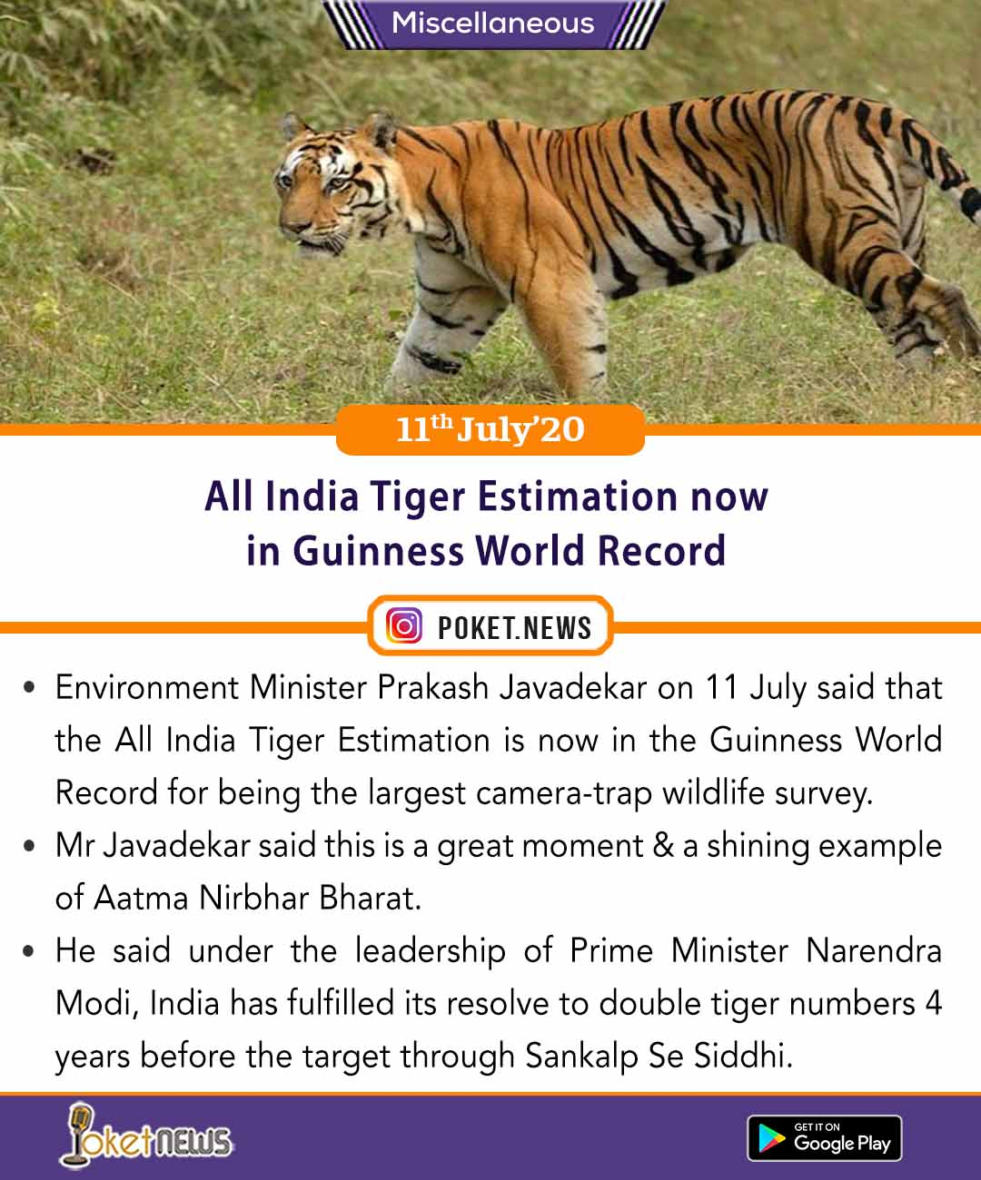 All India Tiger Estimation now in Guinness World Record