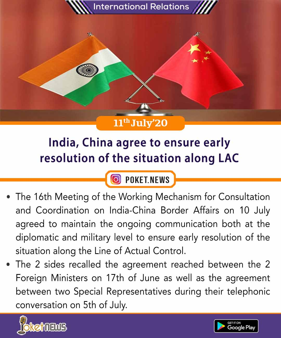 India, China agree to ensure early resolution of the situation along LAC