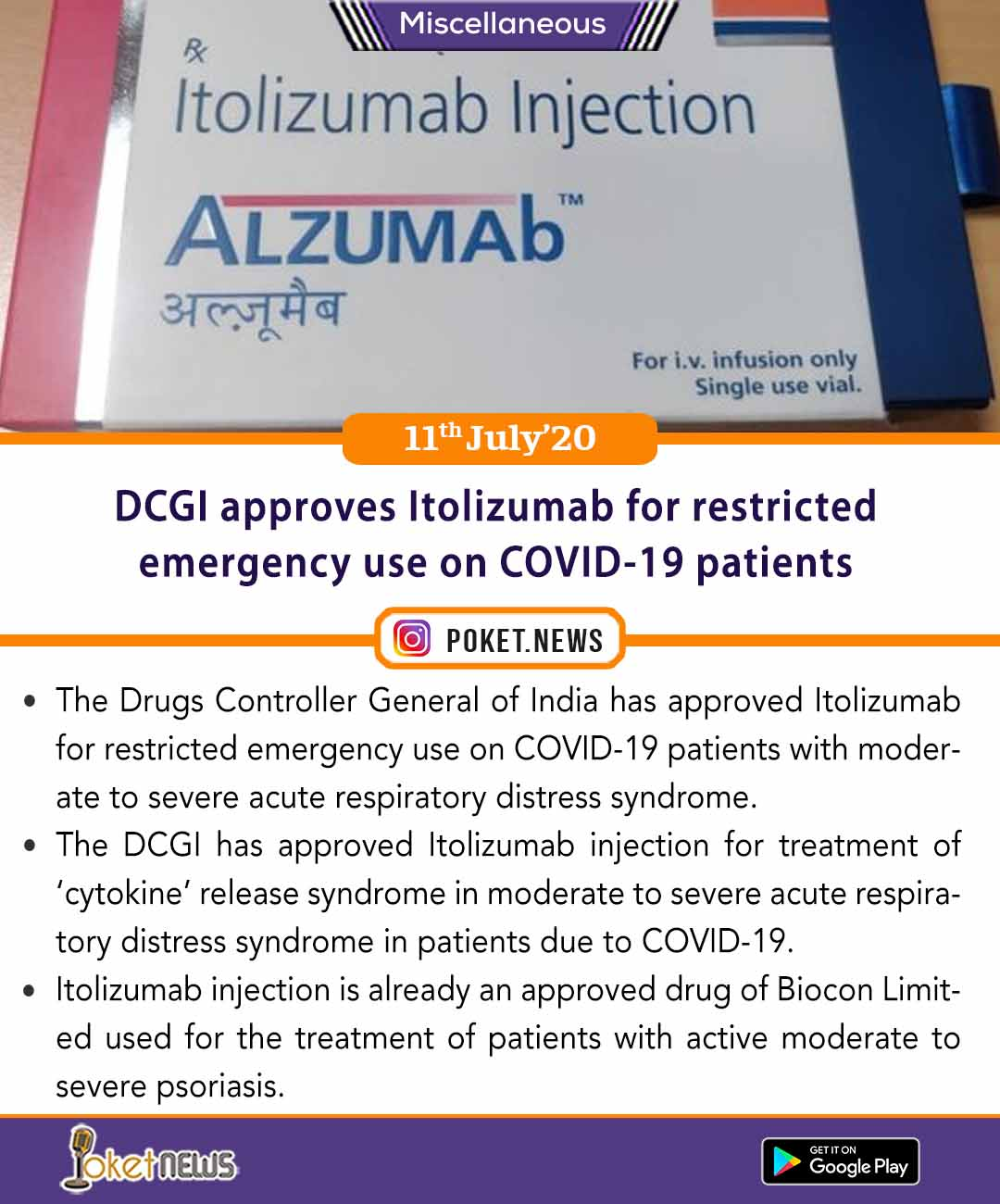 DCGI approves Itolizumab for restricted emergency use on COVID-19 patients