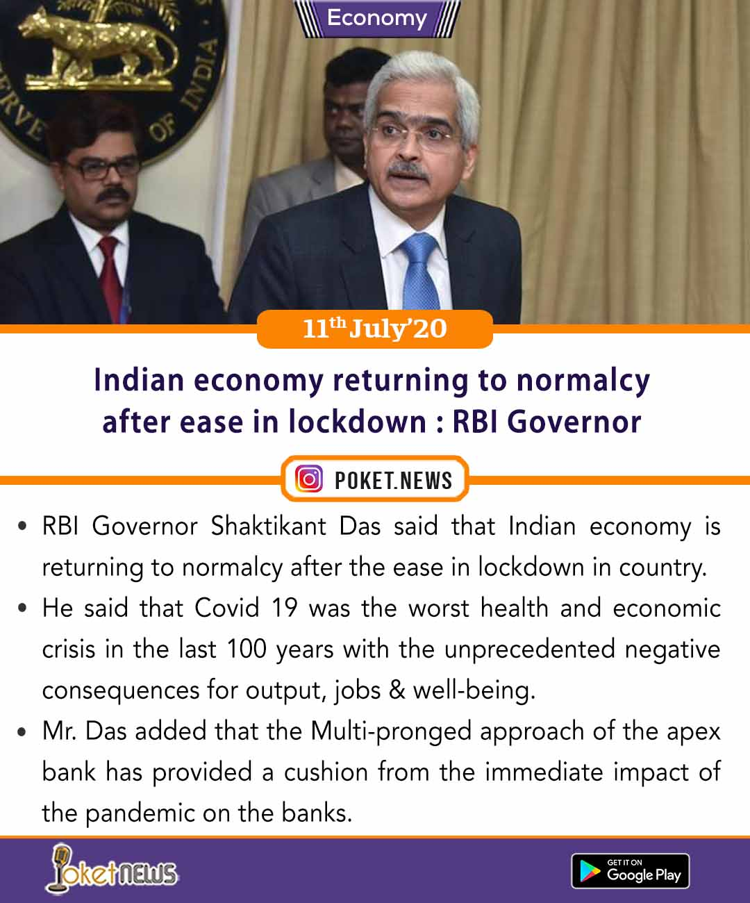 Indian economy returning to normalcy after ease in lockdown : RBI Governor
