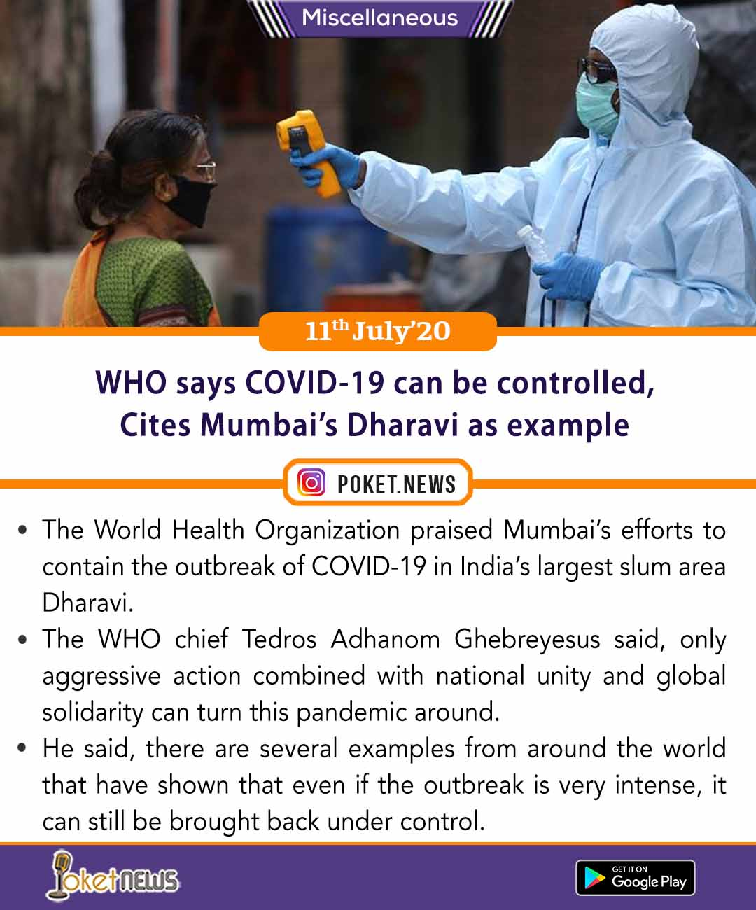 WHO says COVID-19 can be controlled, Cites Mumbai's Dharavi as example