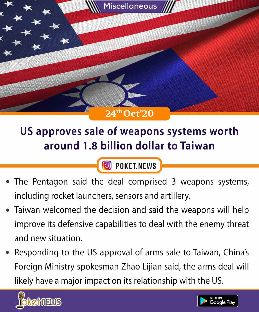 US approves sale of weapons systems worth around 1.8 billion dollar to Taiwan