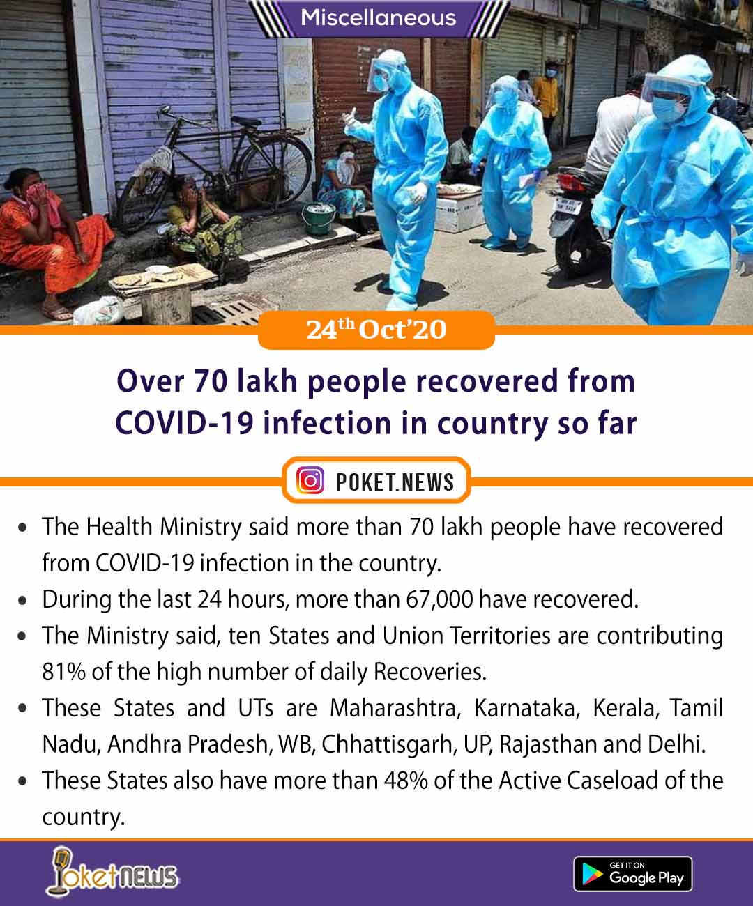 Over 70 lakh people recovered from COVID-19 infection in country so far