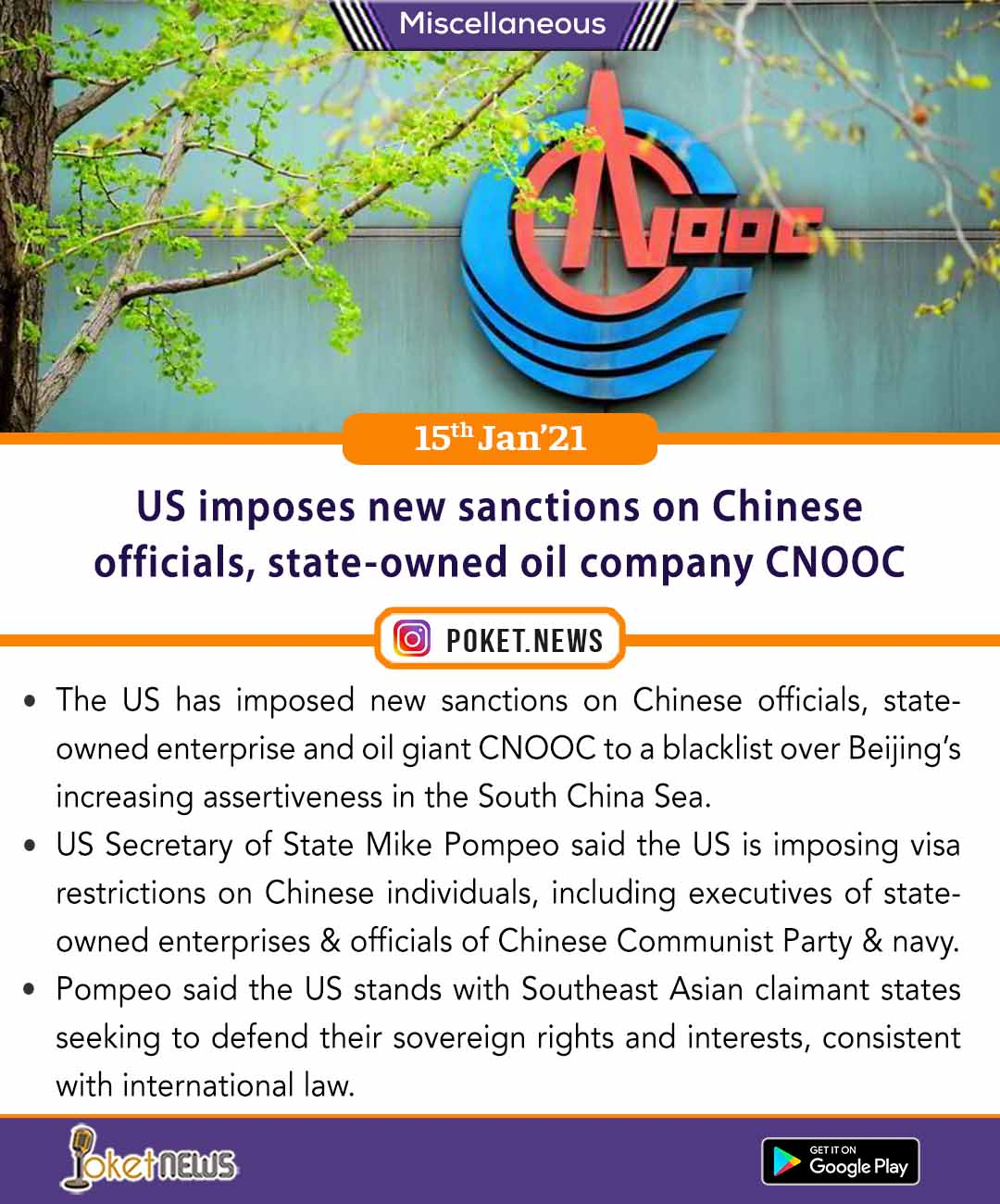 US imposes new sanctions on Chinese officials, state-owned oil company CNOOC