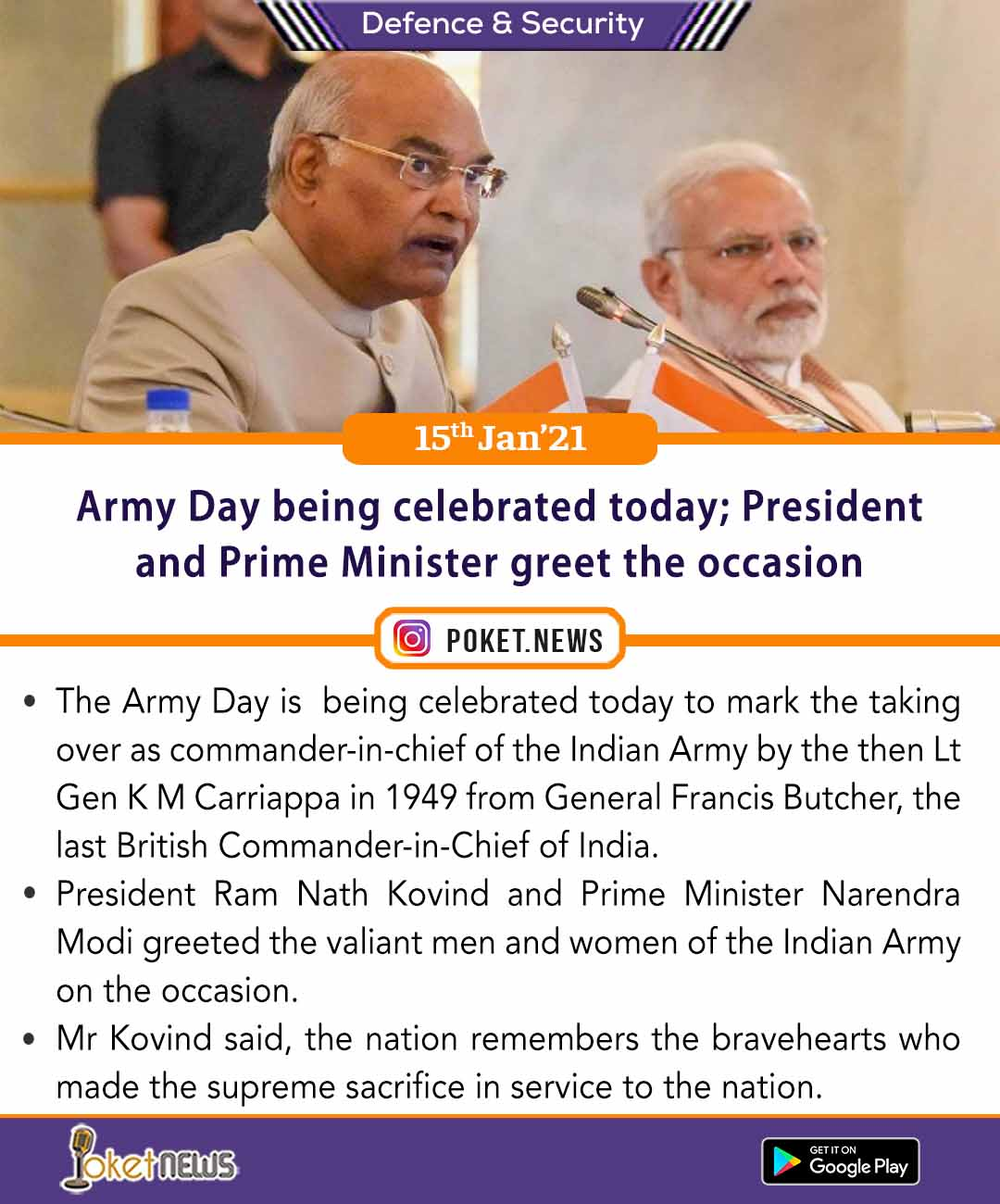 Army Day being celebrated today; President and Prime Minister greet the occasion