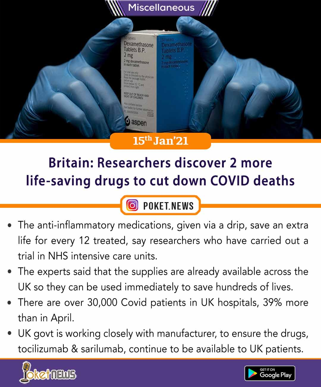 Britain: Researchers discover 2 more life-saving drugs to cut down COVID deaths