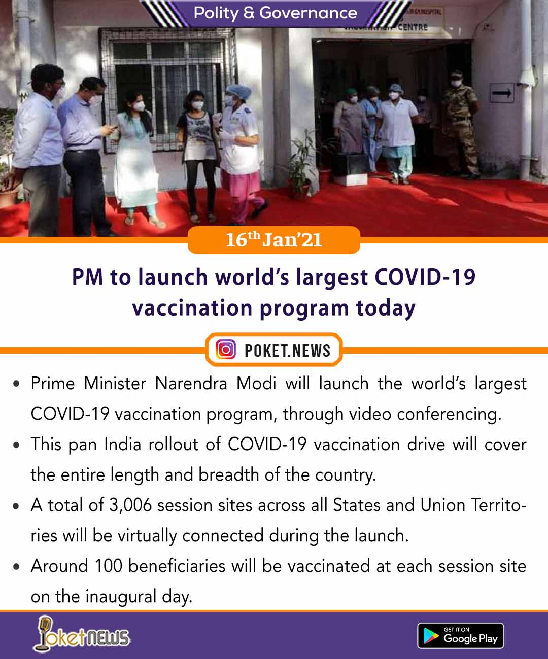 PM to launch world's largest COVID-19 vaccination program today