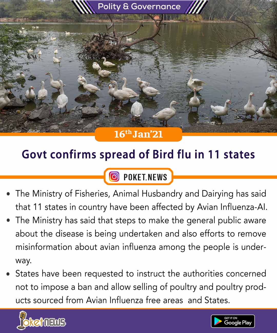 Govt confirms spread of Bird flu in 11 states