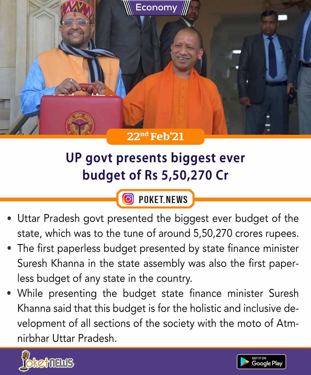 UP govt presents biggest ever budget of Rs 5,50,270 Cr