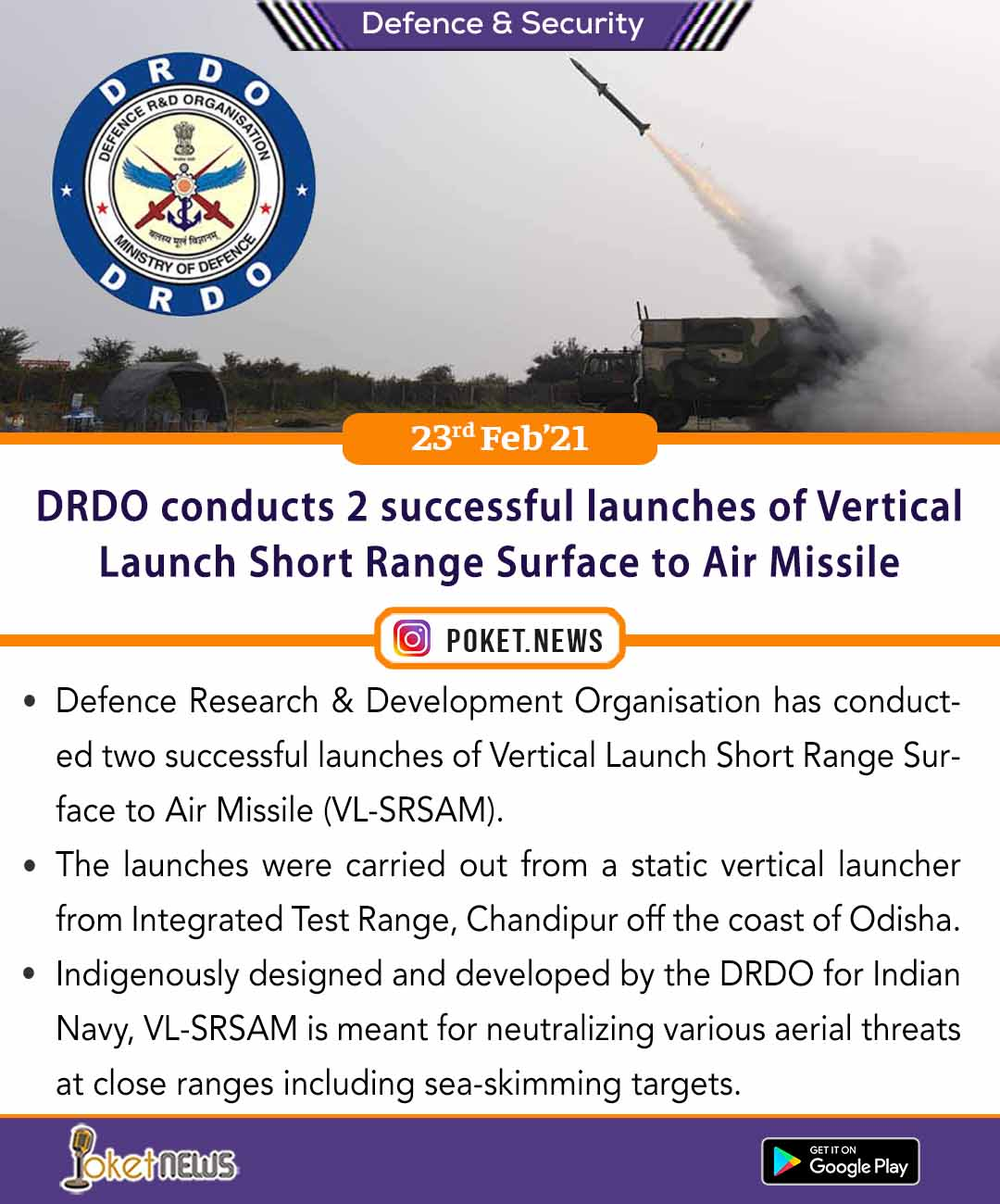 DRDO conducts 2 successful launches of Vertical Launch Short Range Surface to Air Missile