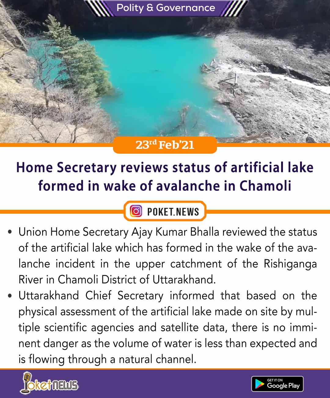 Home Secretary reviews status of artificial lake formed in wake of avalanche in Chamoli