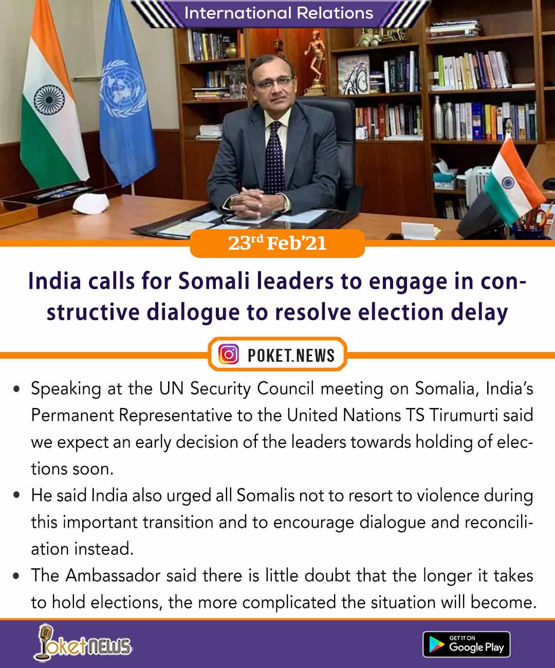 India calls for Somali leaders to engage in constructive dialogue to resolve election delay