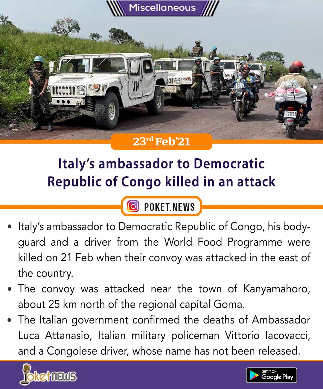 Italy's ambassador to Democratic Republic of Congo killed in an attack