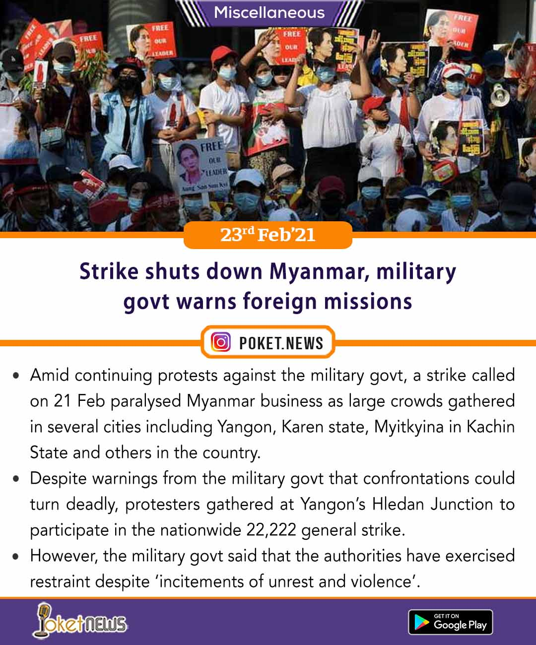 Strike shuts down Myanmar, military govt warns foreign missions