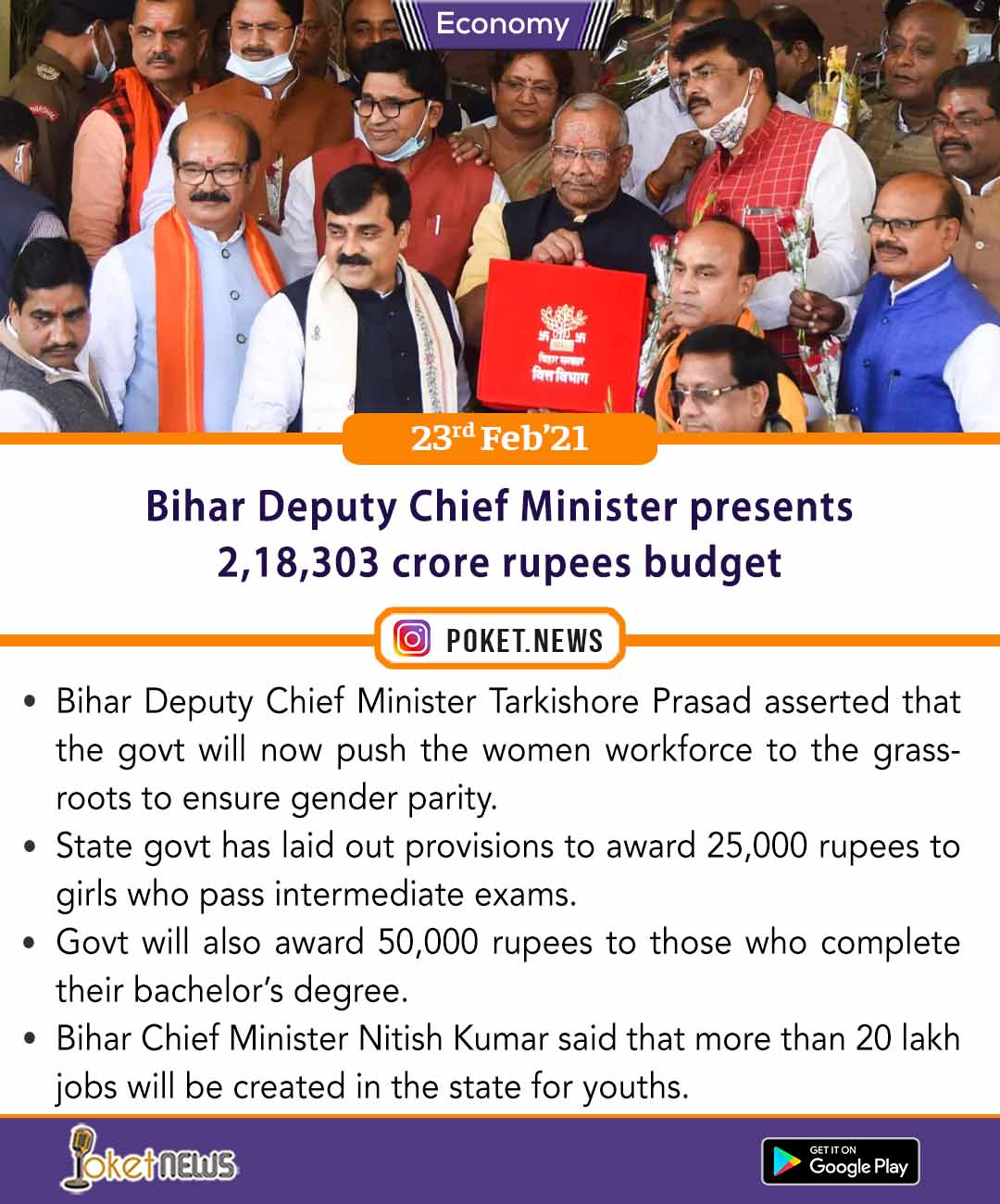 Bihar Deputy Chief Minister presents 2,18,303 crore rupees budget