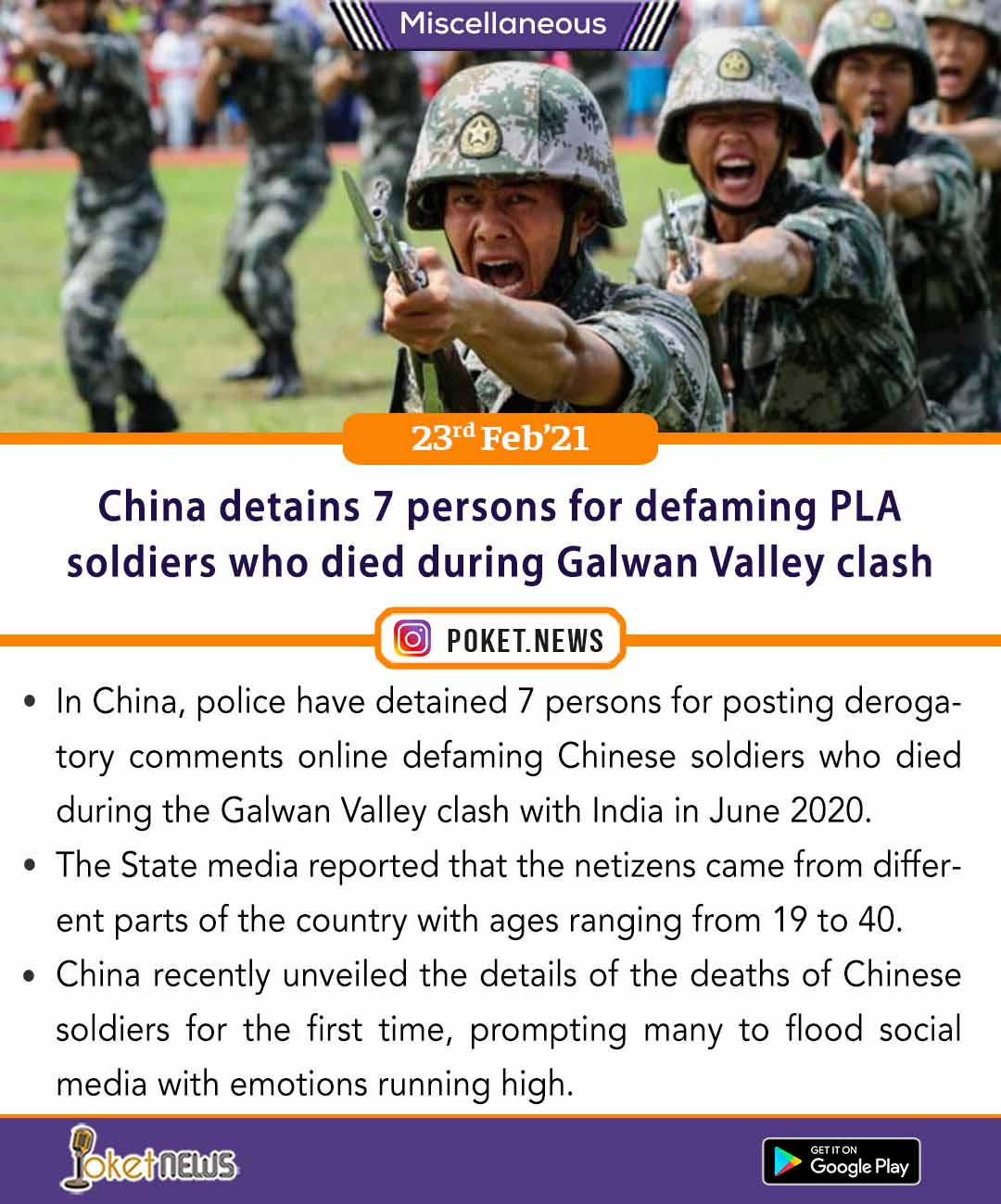 China detains 7 persons for defaming PLA soldiers who died during Galwan Valley clash