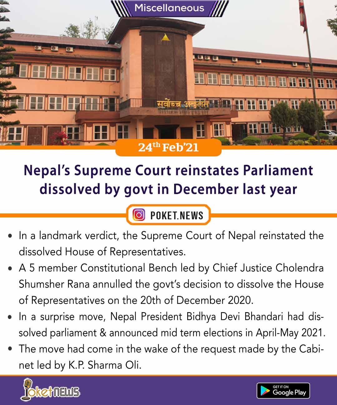 Nepal's Supreme Court reinstates Parliament dissolved by govt in December last year