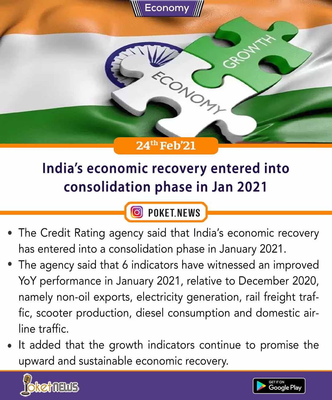 India's economic recovery entered into consolidation phase in Jan 2021