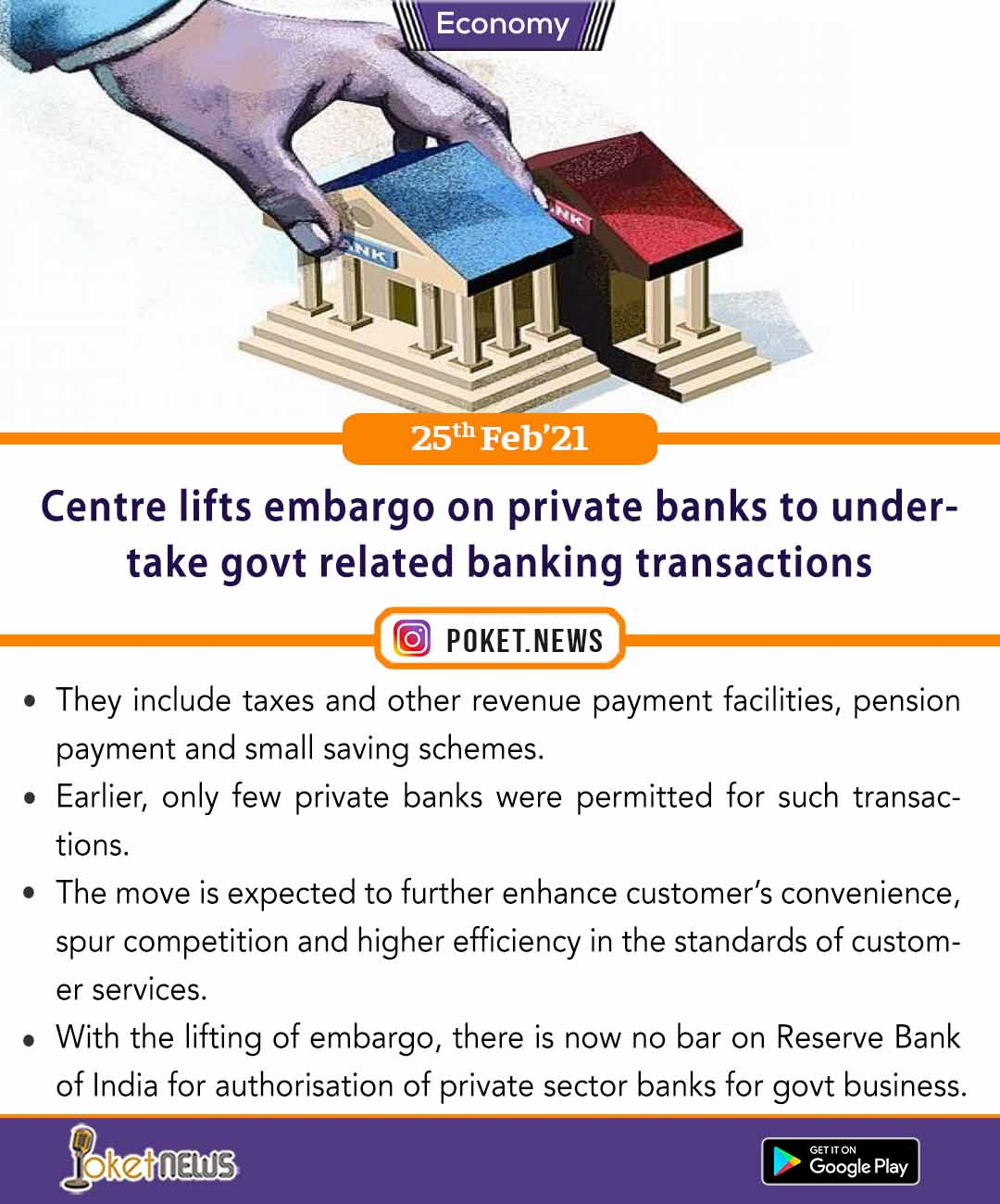 Centre lifts embargo on private banks to undertake govt related banking transactions