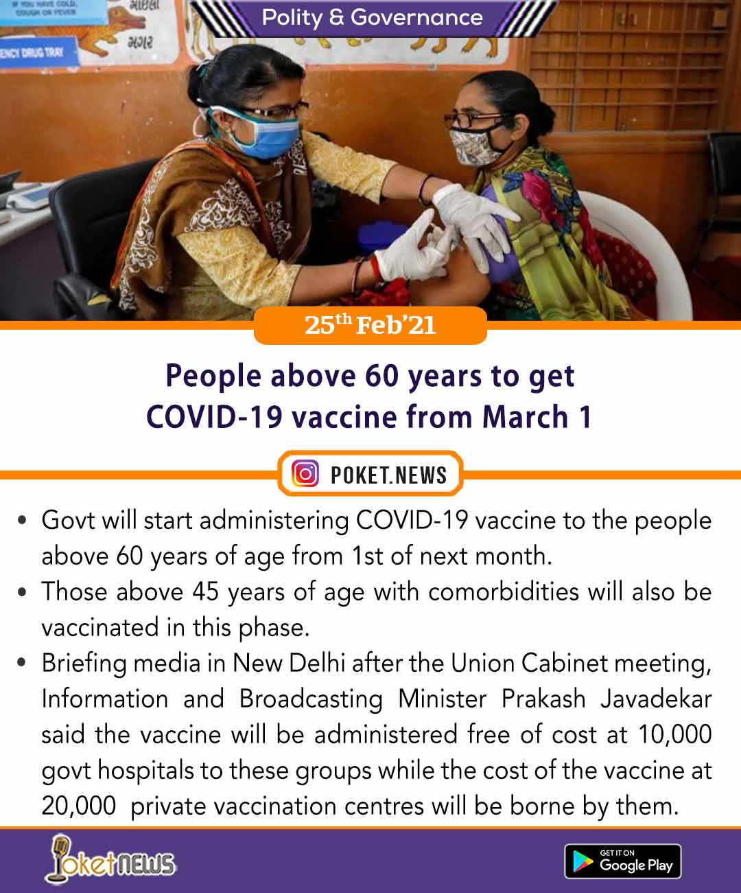 People above 60 years to get COVID-19 vaccine from March 1