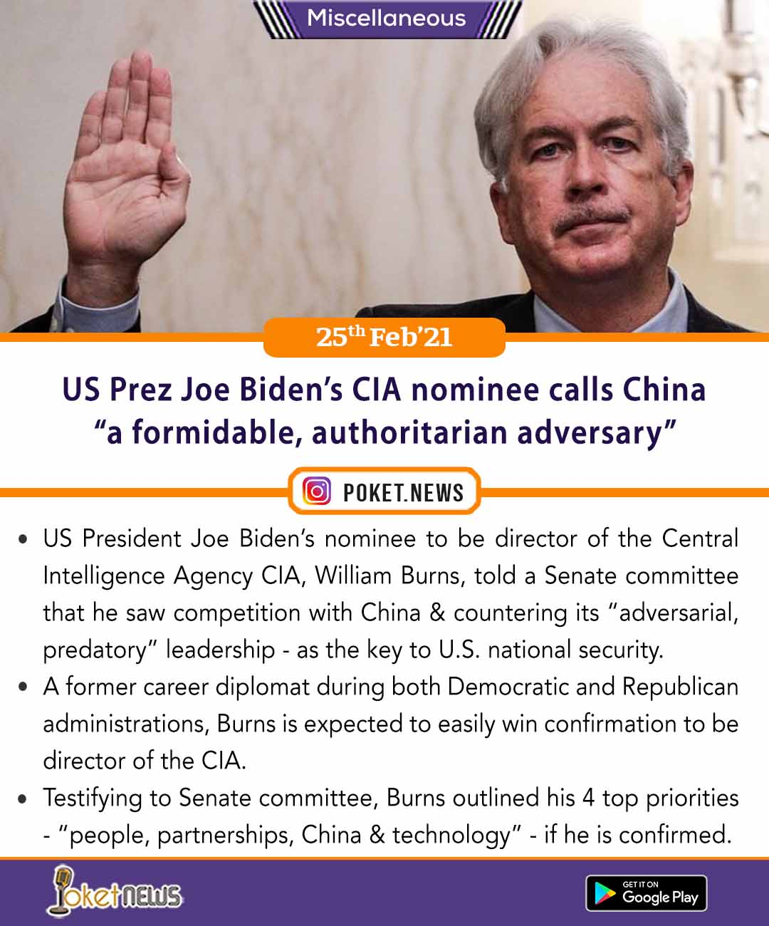 "US Prez Joe Biden's CIA nominee William Burns calls China ""a formidable, authoritarian adversary"""
