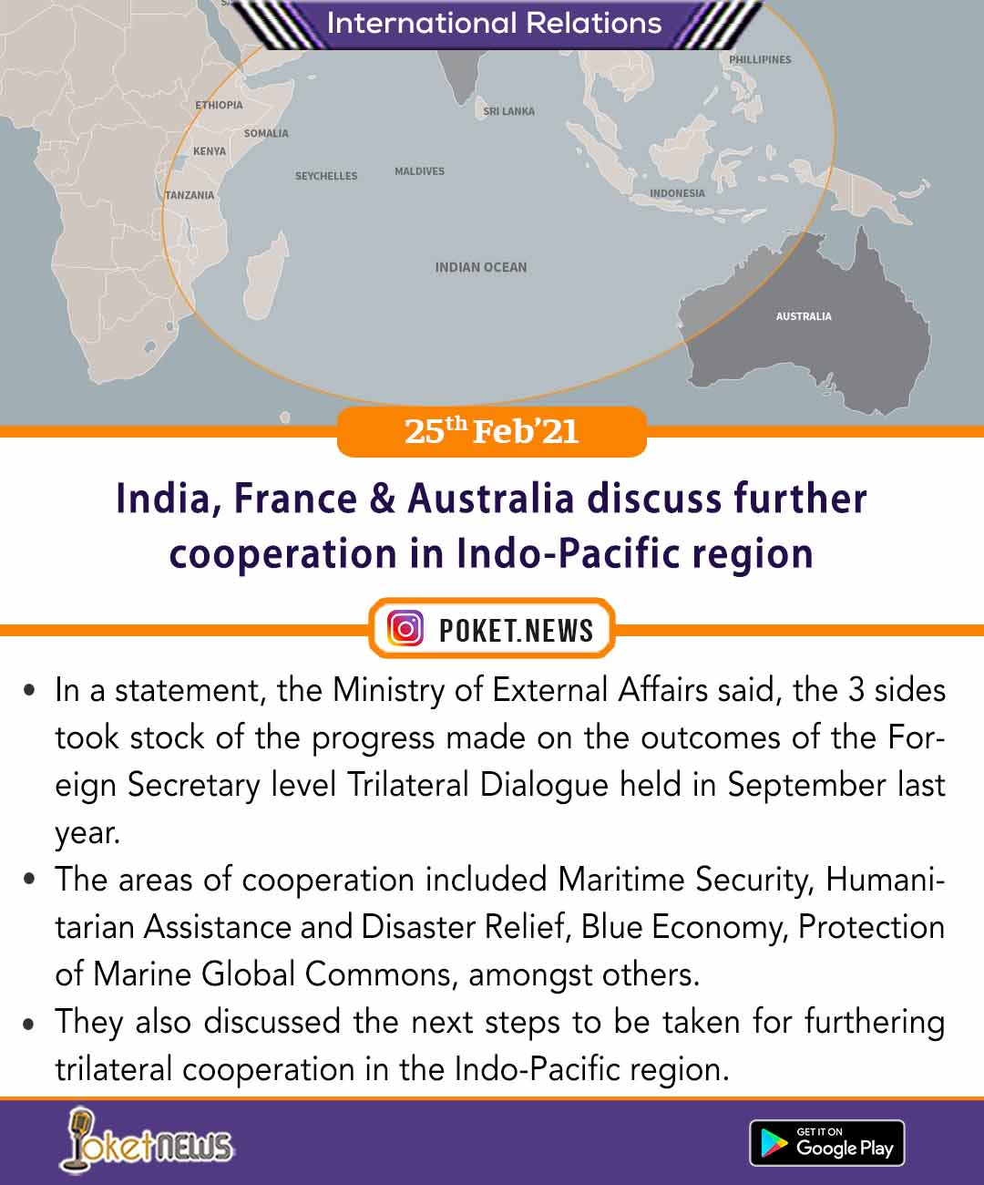 India, France & Australia discuss further cooperation in Indo-Pacific region