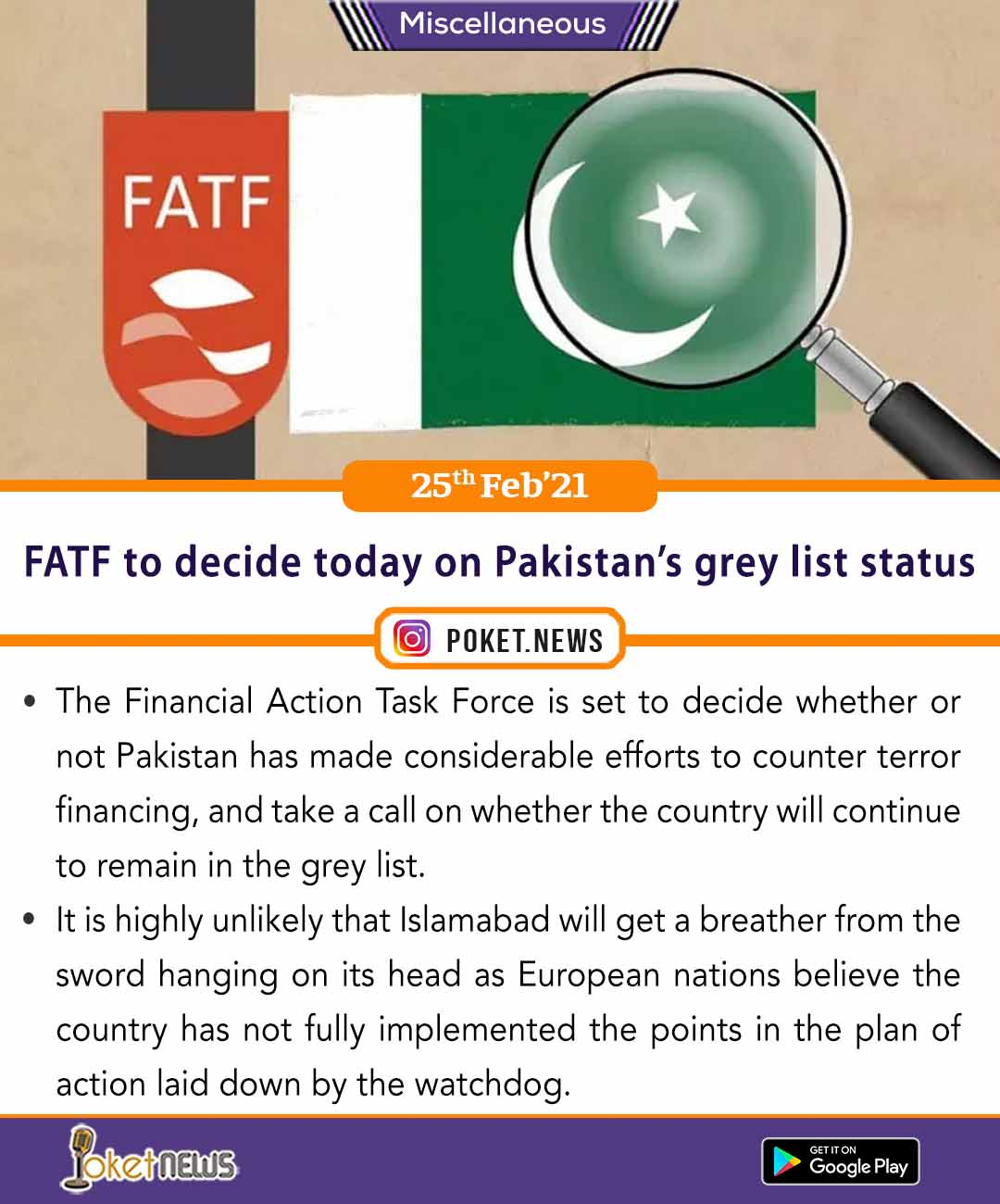 FATF to decide today on Pakistan's grey list status