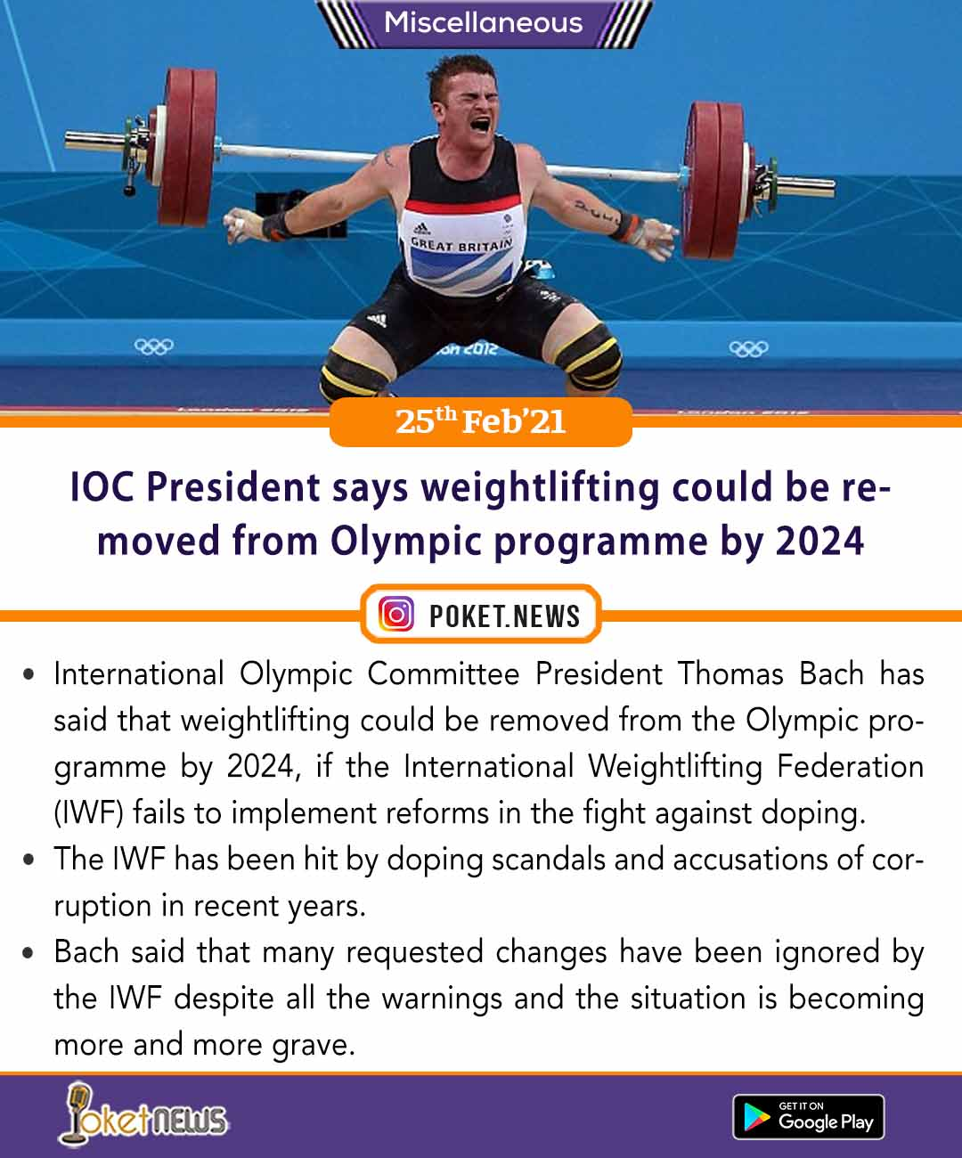 IOC President says weightlifting could be removed from Olympic programme by 2024