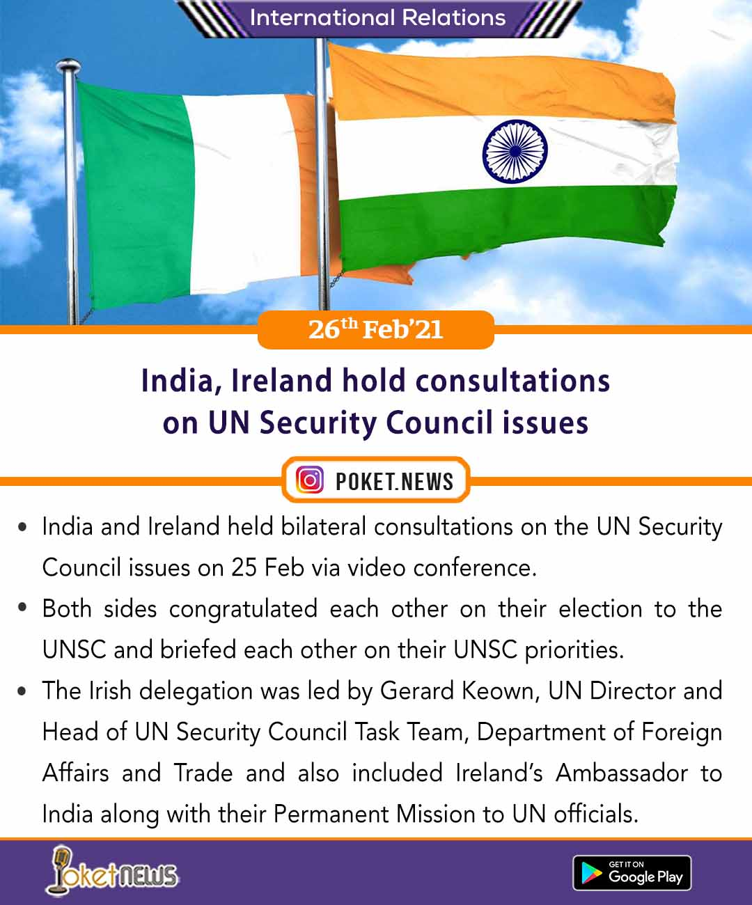 India, Ireland hold consultations on UN Security Council issues