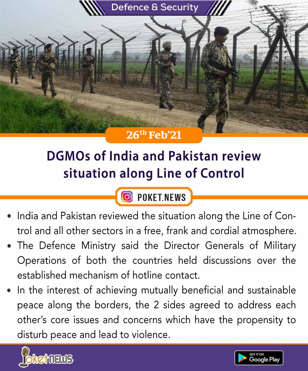 DGMOs of India and Pakistan review situation along Line of Control