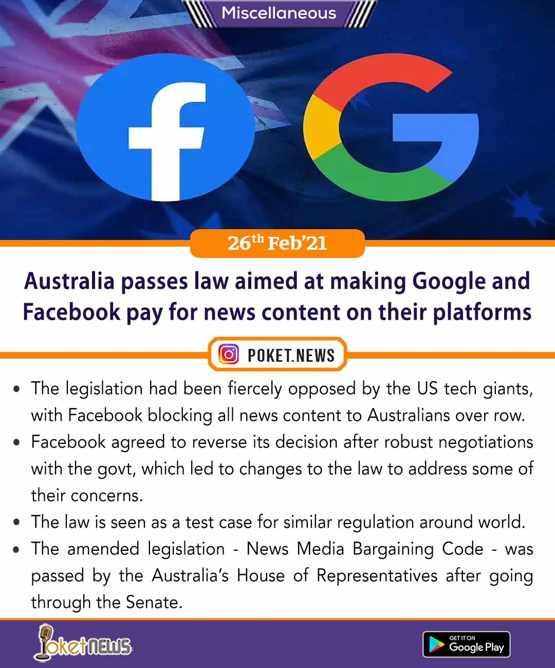 Australia passes law aimed at making Google and Facebook pay for news content on their platforms
