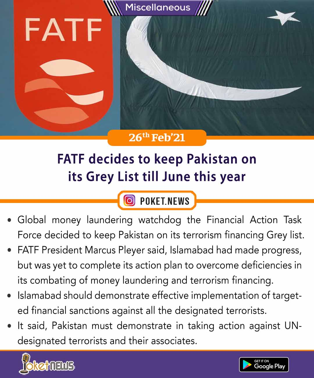 FATF decides to keep Pakistan on its Grey List till June this year