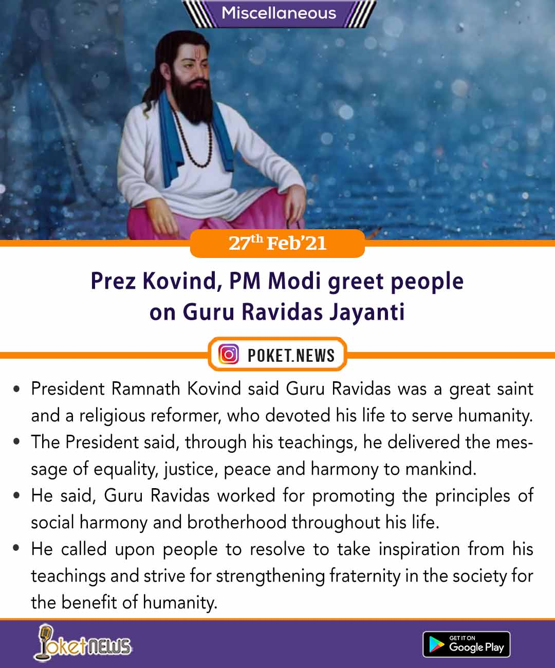 Prez Kovind, PM Modi greet people on Guru Ravidas Jayanti