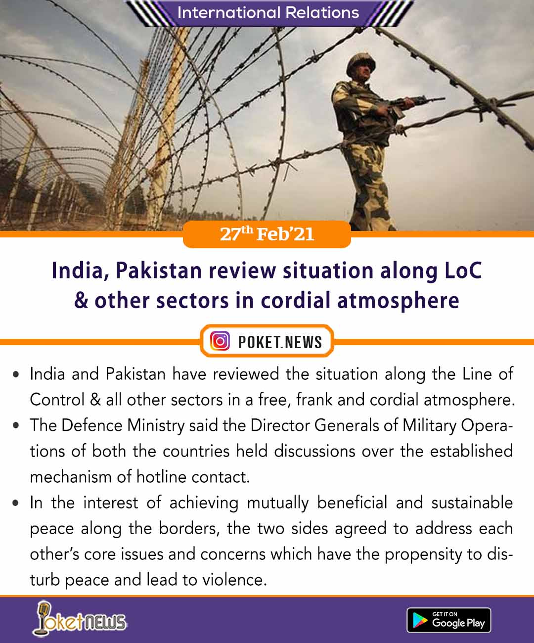 India, Pakistan review situation along LoC & other sectors in cordial atmosphere