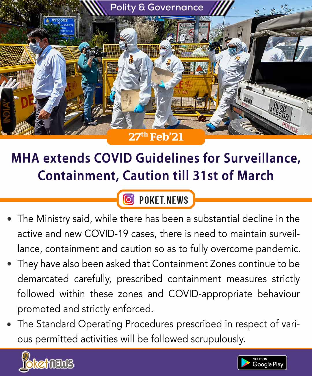 MHA extends COVID Guidelines for Surveillance, Containment, Caution till 31st of March